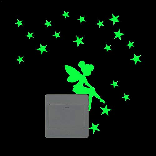 Pegatina para interruptor de rebirthesamo, luminosa, para pared, con diseño de hada y estrellas, M, 仙女星星1款