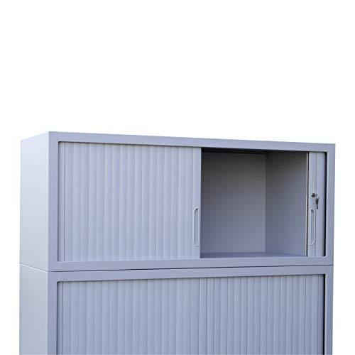 ADB Rolladenschrank/Aktenschrank/Büroschrank, passend z.B. für DINA4 Ordner, 105 x 120 x 45 cm, Lichtgrau (RAL 7035), Gewicht ca. 40kg, Der passende Beistellsch