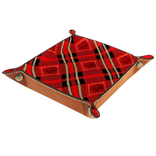 Bandeja de Cuero - Organizador - Tela de cuadros rojos, negros y dorados con rosas - Práctica Caja de Almacenamiento para Carteras,Relojes,llaves,Monedas,Teléfonos Celulares y Equipos de Oficina