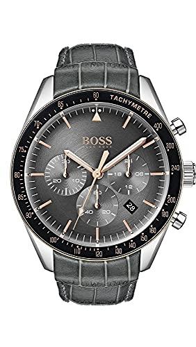Hugo Boss Herren Chronograph Quarz Armbanduhr mit Lederarmband 1513628