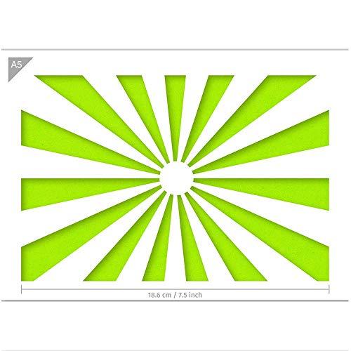 QBIX Sonnenschein Schablone - Sun Schablone - japanische Flagge - A5 Größe - wiederverwendbare Kinder fre&lich DIY Schablone für Malerei, Backen, Handwerk, Wand, Möbel