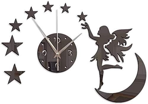 ACAMPTAR Reloj de pared creativo de moda, sala de estar, espejo de hadas, reloj de pared, negro