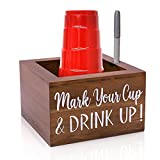 Zingoetrie Natural Solo Cup Holder, Wooden Party Cup Organizer Storage Party Cup Dispenser Cup Mark Your Cup and Drink Up for Bathroom Kitchen Bar Counter Rustic Farmhouse Home Party Decor