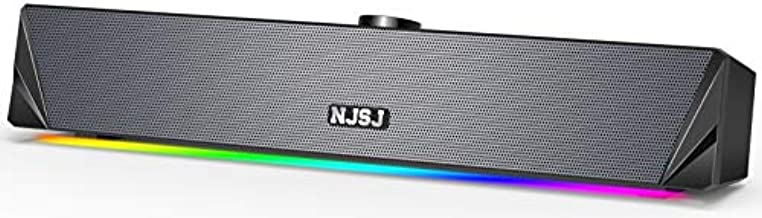 Computer Speakers, NJSJ RGB Gaming PC Soundbar, 10W HiFi Stereo Speaker 3.5mm Aux-in Connection, USB Powered Computer Sound Bar for Desktop, PC, Laptop, Monitor