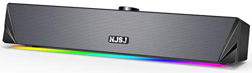 Computer Lautsprecher,2.0 USB Powered PC Soundbar 10W,360 Surround Sound & Satter Stereo Bass,RGB LED Lichter,3,5mm Aux Eingang,Gaming Lautsprecher für Desktop,Laptop,PC,Handy,TV