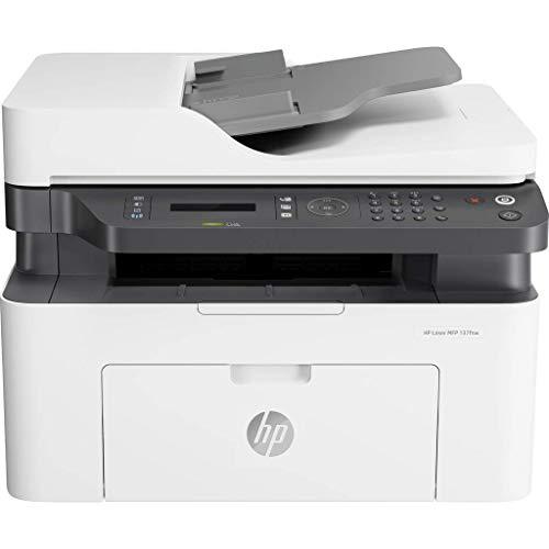 HP Laser MFP 137fnw 4ZB84A, Impresora Láser Multifunción Monocromo, Imprime, Escanea, Copia y Fax, Wi-Fi, Ethernet, USB 2.0 alta velocidad, HP Smart App, Panel de Control LCD, Blanca