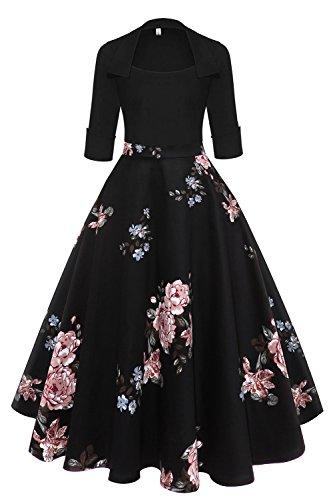 Axoe Damen Elegante 50er Jahre Vintage Kleid Rockabilly mit rmel Schwarz Grosse Grssen 46