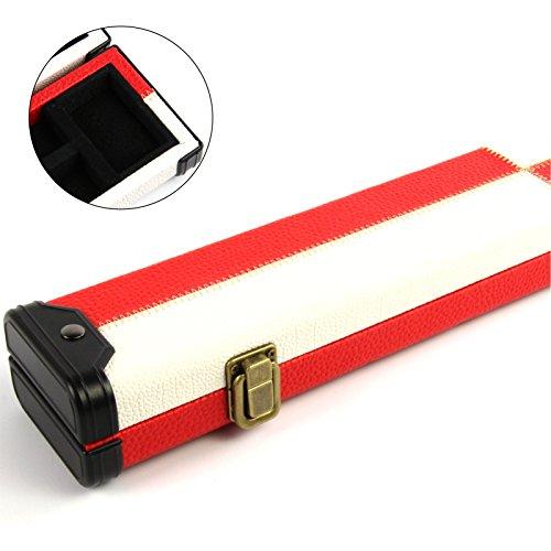 Funky Chalk Luxury Red White Patch 2pc Pool Snooker Cue Case-for Centre Joint Cues, Lussuosa Custodia per Stecche da Biliardo, Colore Rosso, Bianco Unisex-Adulto