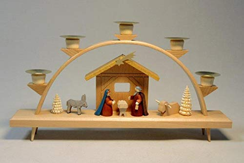 Schwibbogen Christi geboorte, kleurrijk gebeitste figuren HxB = 18x32cm NIEUW Ertsgebergte lichtboog lichtboog