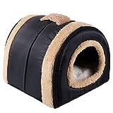N/D Dololoo - Lettino per gatti, igloo per gatti, per gatti e gatti, con sistema di riscaldamento automatico, 2 in 1, pieghevole, 35 x 30 x 28 cm, colore: Blu scuro