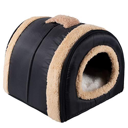 Dololoo Haustierbett für Katzen und Hunde Plüsch Hundebett Katzenbett (S: 35x30x28 cm, Schwarz) Mehrweg