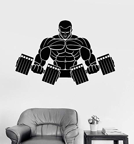 mlpnko Muskulöser Mann starker Körper Hantel Bodybuilding Fitness Vinyl Wandtattoo 76X50cm