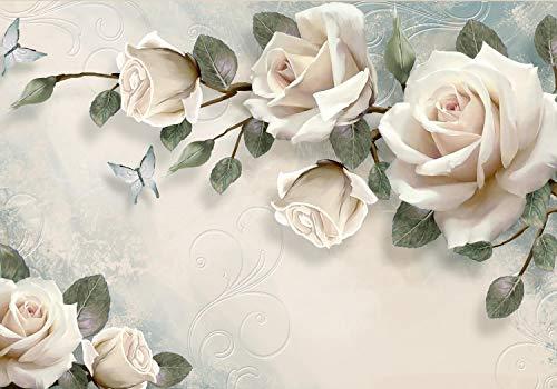 wandmotiv24 Fototapete Rosen Schmetterlinge bemalt effekt wand, XXL 400 x 280 cm - 8 Teile, Fototapeten, Wandbild, Motivtapeten, Vlies-Tapeten, Vintage alt Ornamente beton Blumen M4660