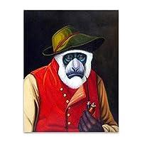 キャンバスに印刷ジクレー動物の壁アートキャンバス絵画面白いチンパンジー飲酒ワイン喫煙写真ポスターリビングルームの家の装飾-50x70cmフレームなし