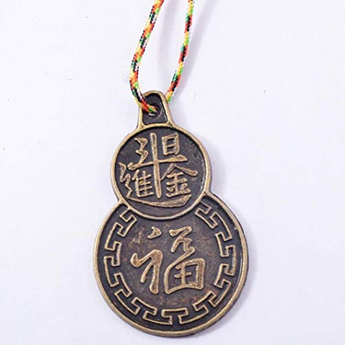 HYJMJJ Chinesische glückliche Münzen 1pcs Feng Shui Fu Anhänger Münze Fengshui Glücksmünzen + Fünf Element String (Geschenkbeutel) Feng Shui Münzen Knoten