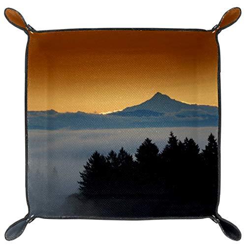 HOHOHAHA Faltbares Würfeltablett aus PU-Leder für Uhren, Schmuck, Aufbewahrungsbox, Halterung, Bergwolken, Naturlandschaft
