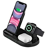 Cargador inalámbrico Rápido, Estación de Carga Rápida Qi Inalámbrica 3 en 1 Soportes de Carga de para iPhone 12/12 Pro Max /iPhone 11/Pro Max / X / XS Max / 8 Apple Watch Airpods Pro/2 y Qi-Enabled