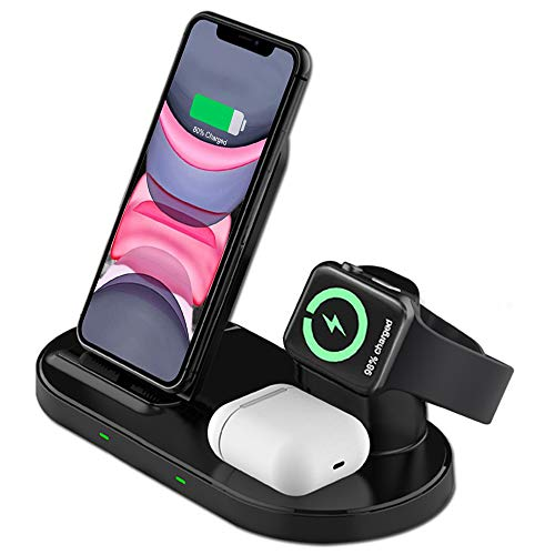 Supporto Caricatore Wireless 3 in 1 per Apple Watch, Qi Supporto di Ricarica Wireless Docking Station per iPhone 12  iPhone11 XS XR X 8, AirPods Pro  2 iWatch 5 4 3 2 1Samsung Galaxy e telefoni qi