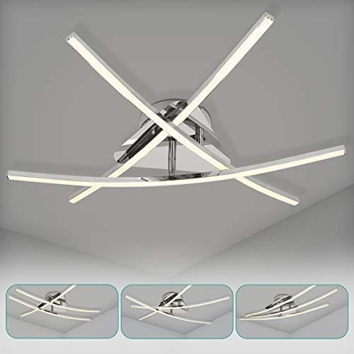 Navaris Moderne LED Deckenleuchte 3-flammig - warmweiß - 21 Watt - 57cm - Drehbare Leuchtstäbe - Geschwungene Designer Alu Deckenlampe Leuchte