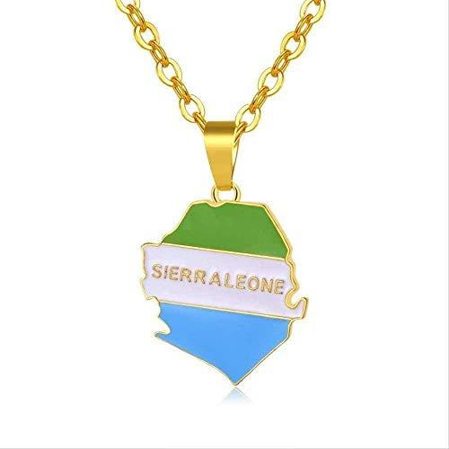 CXYCXY Co.,ltd Collar de Mapa de Sierra Leona y Collares con Colgante de Bandera para Mujeres/Hombres joyería de mapas de Sierra Leona de Color Dorado