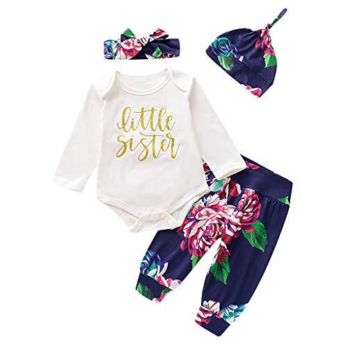 Bluestercool Toddler Enfants Tenues Sets Garçons Filles Bébé Fashion Dessin Animé Imprimé Tops T-Shirts à Manches Longues Pantalons Chapeau Bandeau Ensembles