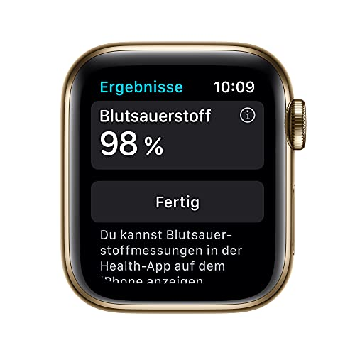 AppleWatch Series6 (GPS+ Cellular, 40mm) - Edelstahlgehäuse Gold, Sportarmband Dunkelmarine