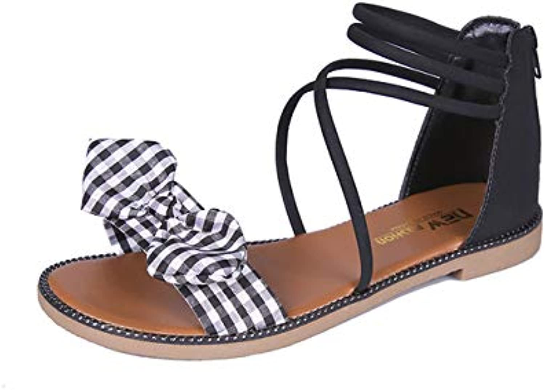 2019 Summer Roman Sandals Women's Straps Flat Sandals Korean Bow Casual Wild Sandals Women,A,US6.57 EU37 UK4.55 CN37