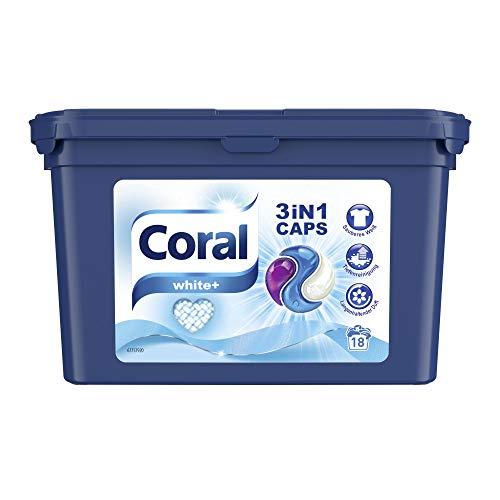 Coral Waschmittel Caps für strahlend weiße Wäsche – 54 Waschladungen hygienisch reine Wäsche, extra stark gegen Flecken – White+ 3in1 Caps ( 3 x 18 Caps)