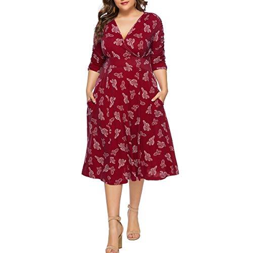 Plus Size Jurken voor Vrouwen Party Casual Cocktail V Neckline Wrap Bloemen Print Empire Taille 3/4 Mouw met Pocket