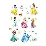 Kibi Princesas Disney Pegatinas De Pared Disney Stickers Infantiles Pared Princesas Casa De Pared Etiquetas De La Pared Niños Dormitorio Bebe, Artes Decorativas Wall Stickers 30 (W) x 90 (H) CM (B)