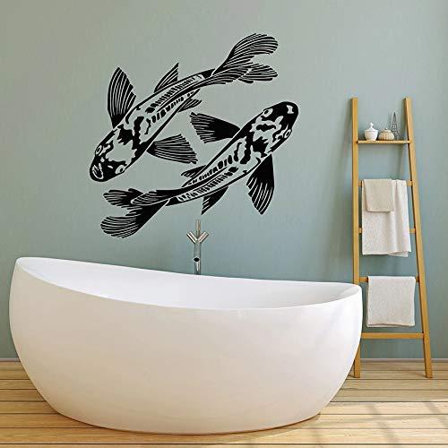 HFDHFH Un par de calcomanías de Pared de Peces Acuario océano océano Pesca Hobby decoración de Interiores Vinilo Ventana Pegatina Buena Suerte Arte Mural
