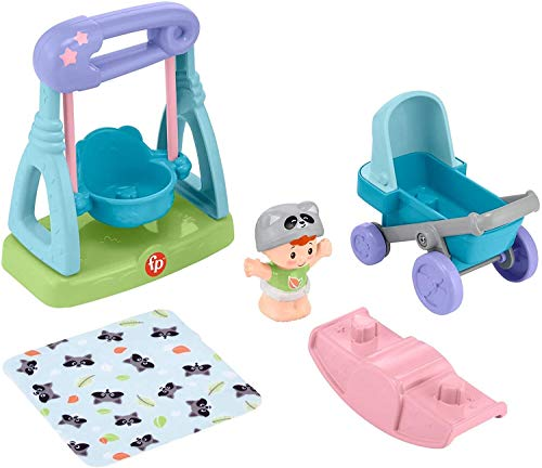 Fisher-Price Little People Swing & Stroll Babies Play Set with Figure and Pretend Outdoor Toys for...