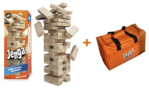 Jenga GIANT Genuine (Stacks to over 4 feet) Precision-Crafted Premium Hardwood Game + Carry Bag (Authentic Jenga Brand Game)