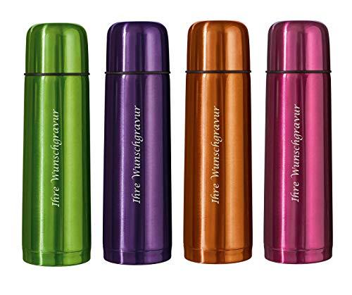 4x roestvrijstalen thermoskan met gravure/thermosfles/kleur: elk 1x oranje, roze, paars, groen