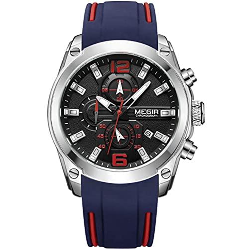 MEGIR Reloj de pulsera analógico de cuarzo para hombre, con cronógrafo, resistente al agua, esfera redonda, color plateado, negro, con negocios, correa de silicona azul