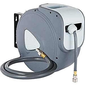 VEVOR Carrete de Manguera de Aire, 30 m + 2 m de Manguera de PVC 9,5 mm de Diámetro para Carrete Retráctil de Manguera…