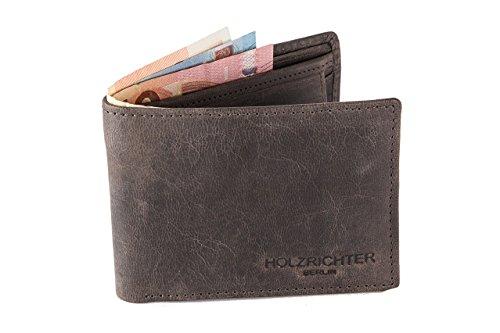 HOLZRICHTER Berlin Premium Geldbörse aus Leder (M) - Handgefertigtes Portemonnaie für Herren Quer - Schokoadenbraun