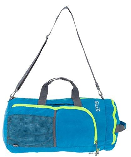 SPEAR Sportspack Large Sporttasche Rucksack Reisetasche faltbar +Trinkflasche (Blau)