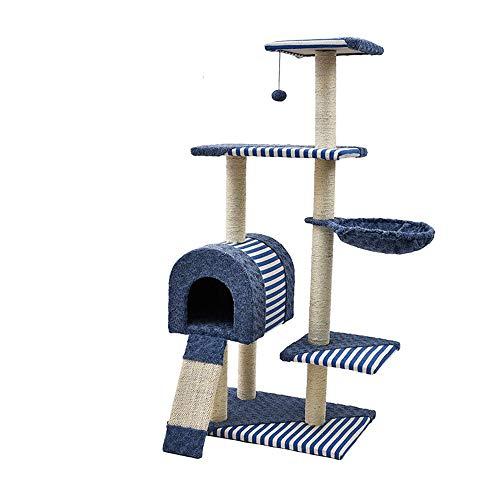 Cat Klettergerüst Classic Katzenspielzeug Katzenspringtisch Heimtierbedarf Kätzchenbaum Katzentisch Heimtier Katze Klettern Blau Bequem und geräumig (Farbe : Blau, Größe : 60 * 40 * 123cm)