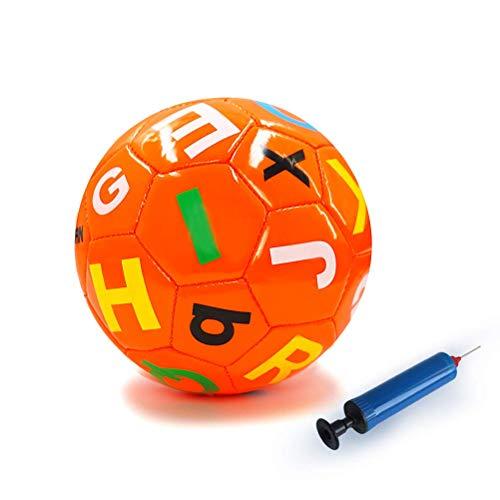 Aoneky Mini Balón de Fútbol con Bomba de Bola para Niños - Tamaño 2, Pelota para Perros con Inflador, Juguete Infantil Juego de Futbol de Entrenamiento Deportes al Aire Libre (Naranja)