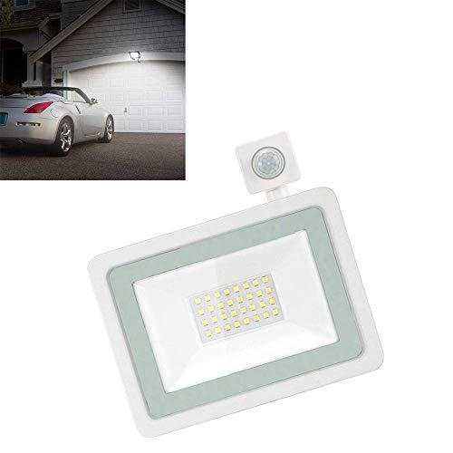 Reflector LED, luces de seguridad de 20 W con sensor de movimiento PIR, reflector LED para exteriores a prueba de agua IP66, luces de pared para exteriores blancas frías de 6500 K para patio, jar