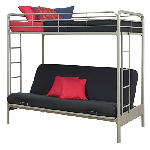 StarSun Depot Twin Over Full Futon Bunk Bed in Silver Metal Finish