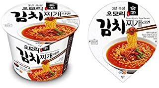 Korean Hot and Spicy Best Noodle (Omori Kimchi Stew Noodle Bowl - 2 Pack)