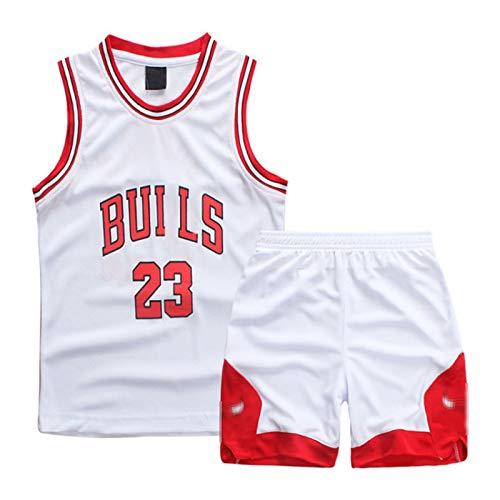 Jordan # 23 Jersey de Baloncesto Jersey Bulls, Niños Baloncesto Jersey 2 Piezas Summer Beach Manga Corta Conjunto de Malla Chaleco cómodo,Blanco,L