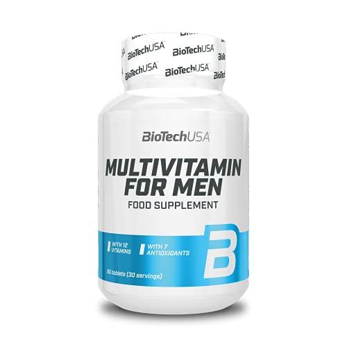 BioTechUSA Multivitamin For Men, Nahrungsergänzungsmittel in Tablettenform mit Vitaminen und Mineralstoffen, Pflanzenextrakten und Aminosäuren – speziell für Männer entwickelt, 60 Stück Tabletten