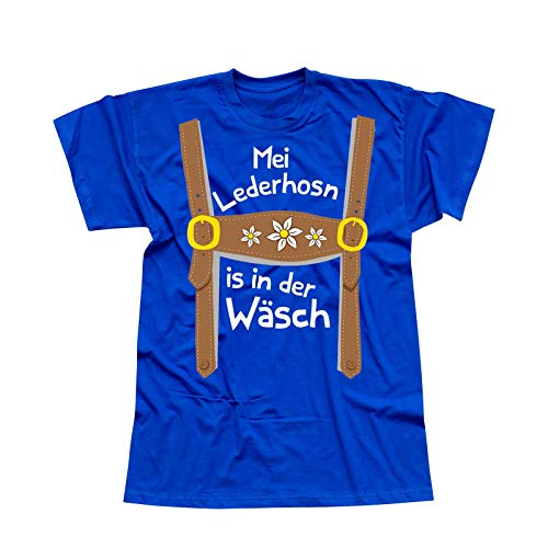 T-Shirt Oktoberfest Lederhose Kostüm Volksfest Tracht 13 Farben Herren XS-5XL München Wiesn Festzelt O'zapft Maß Krug Dirndel, Größe:XL, Farbe:Royalblau - Logo Weiss