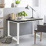 ECD Germany Schreibtisch Computertisch 120x60x74,5 cm aus Holz Schwarz-Weiß mit stabiles Metallgestell für Home Office Schule - Großer Bürotisch Arbeitstisch Laptoptisch PC Tisch Officetisch Esstisch