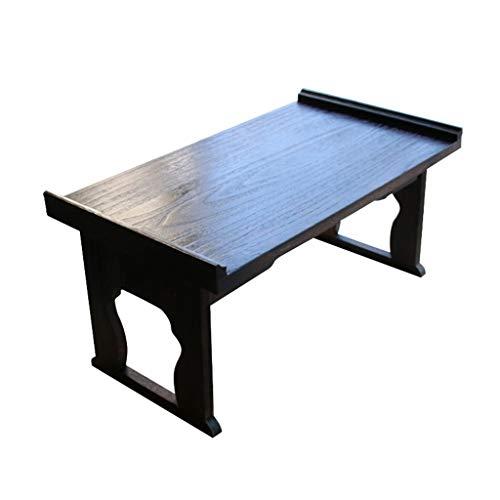 Tables Basse en Bois Massif Salon Noir Petite Basse De Baie Vitrée Pliable De Plate-Forme Basse Lit Bureau D'ordinateur De Tatami Simple Basses