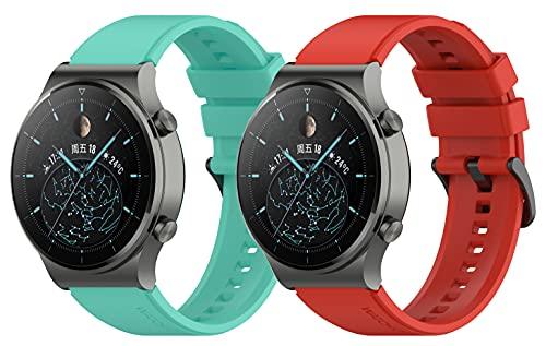 Kobmand Cinturino per Huawei Watch GT2 PRO Braccialetto,Cinturino in Silicone Uguale all'originale per Watch GT 2 Pro/Huawei Watch GT/Watch GT2 (Rosso+Teal)