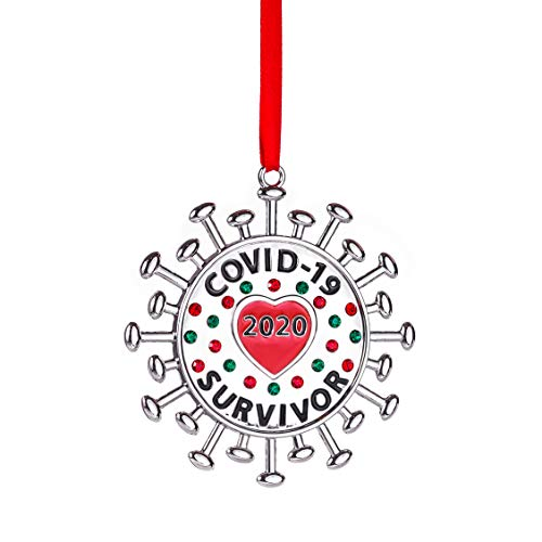 Klikel Covid-19 Survivor Christmas Ornament - Dated 2020 - Non-Tarnish Nickel Plate with Red Green Crystals - Coronavirus Germ Memorial